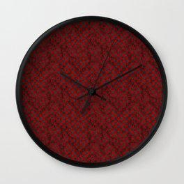Retro Check Grunge Material Red Black Wall Clock