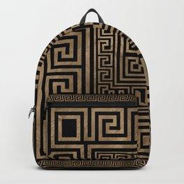 Greek Key Ornament - Greek Meander -Gold on Black Backpack