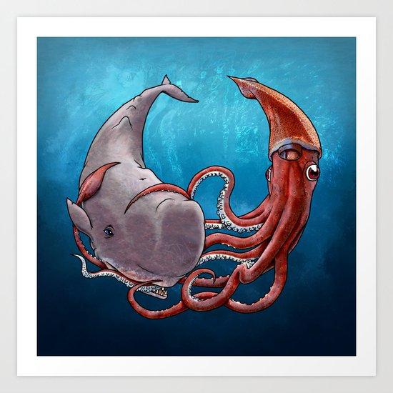 Squide & Whale Art Print