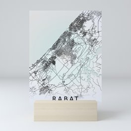 Rabat, Morocco, White, City, Map Mini Art Print