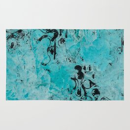 Turquoise Marble Stone with Black Ink overlay design Rug