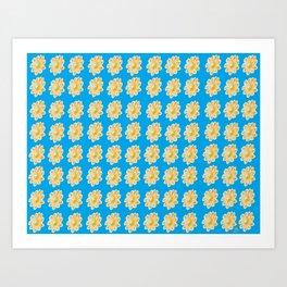 Golden Daisy Swimming in Blue Art Print