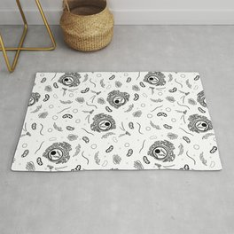 Cell Organelles - Black and White Rug