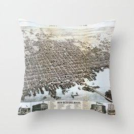 View of the City of New Bedford, Massachusetts (1876) Throw Pillow