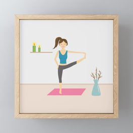 Yoga Girl In Extended Hand To Toe Pose Cartoon Illustration Framed Mini Art Print