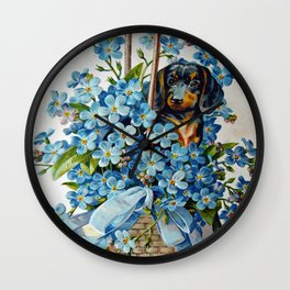 Dachshund and Forget-Me-Nots Wall Clock
