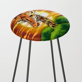 Giraffe on Wild African Savanna Sunset Counter Stool