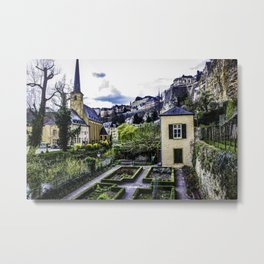 Looking down at the Groundskeeper Garden at the Bock Casements in Luxembourg City, Luxembourg Metal Print