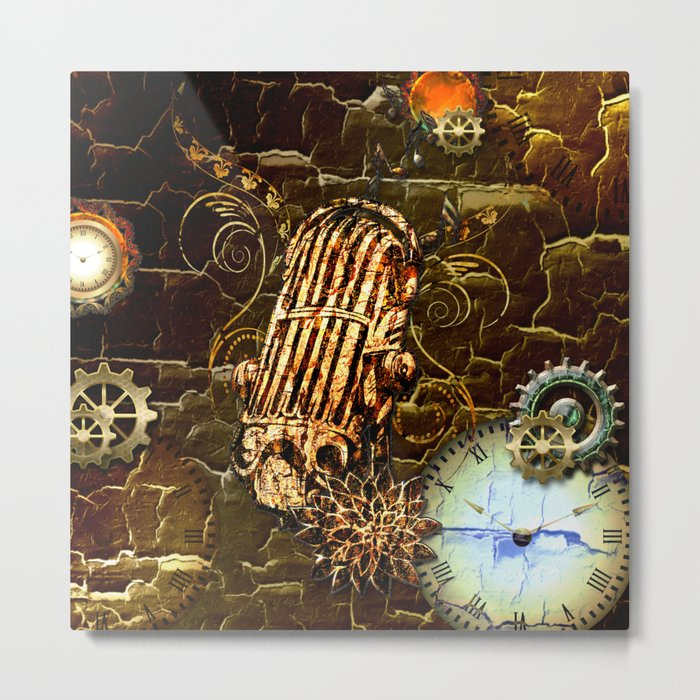 Steampunk, micropphone Metal Print
