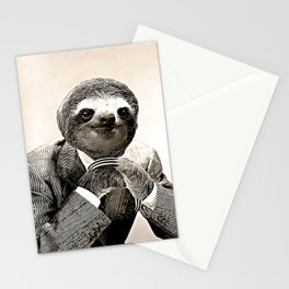 Gentleman Sloth in Smart Posture Stationery Cards