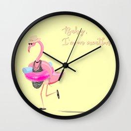Baby, I'm on vacation! A funny flamingo! Wall Clock