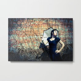 Gothic Woman Out for a Gothic Stroll Metal Print