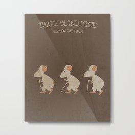 Three Blind Mice. Children's Nursery Rhyme Inspired Artwork. Metal Print