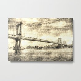 Manhattan Bridge New York Vintage Metal Print