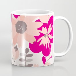 Big Flowers in Hot Pink and Accent Gray Coffee Mug