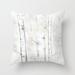 Minimalist Birch Trees Throw Pillow