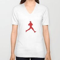 obama V-neck T-shirts featuring Obama Jumpman by Michael Rosenfeld