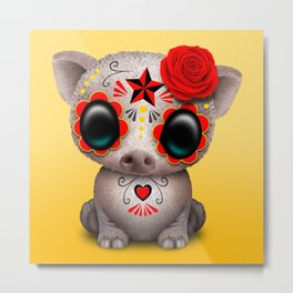 Red Day of the Dead Sugar Skull Baby Pig Metal Print