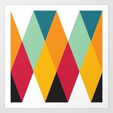 Yellow Orange Red Blue Black Diamond Pattern  Art Print