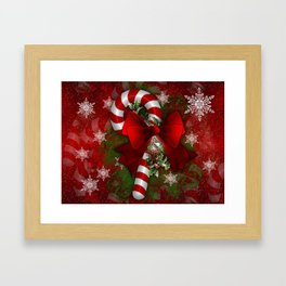 candy cane and bow Framed Art Print