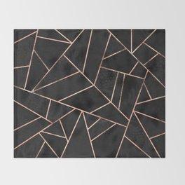 Velvet Black & Rose Gold Throw Blanket