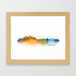 Sydney City Skyline Hq v3 Framed Art Print
