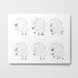 Cute Chibi Sheeps Metal Print