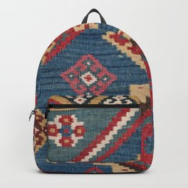 Vintage Woven Kilim // 19th Century Colorful Royal Blue Yellow Authentic Classic Ornate Accent Patte Backpack