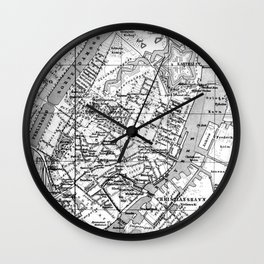 Vintage Map of Copenhagen Denmark (1888) BW Wall Clock