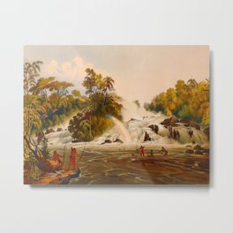 Junction Of The Kundanama Illustrations Of Guyana South America Natural Scenes Hand Drawn Metal Print