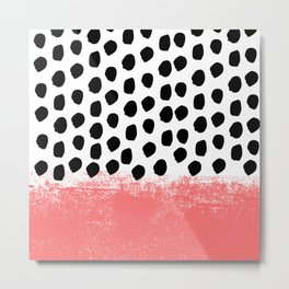 Lola - painted dot minimal coral black and white trendy abstract home decor Metal Print