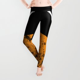 Sunset - Abstract Geometric Art In Black, Gold and White Leggings