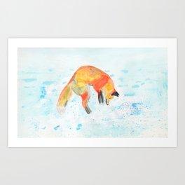 Leaping Fox Watercolor Art Print