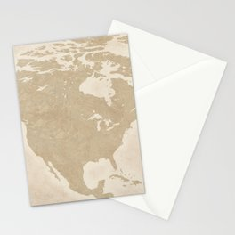 North American Travel Map Stationery Cards