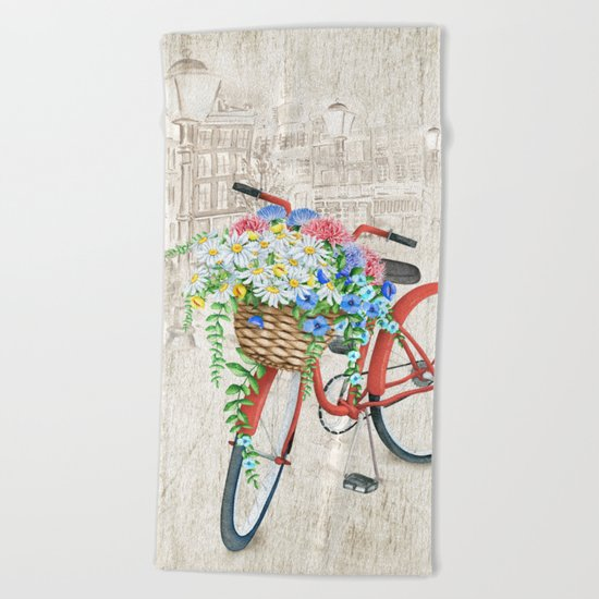 Red bike & white daisy Beach Towel