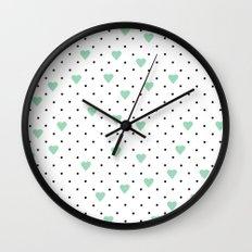 Pin Point Hearts Mint Wall Clock