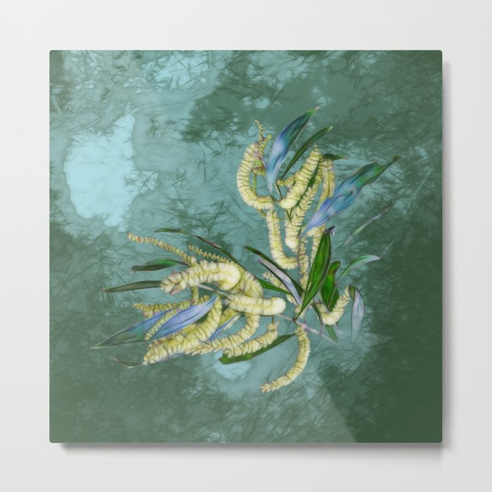Abstract wattle in blue and green Metal Print