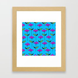 Genevieve - Blue and Pink Framed Art Print