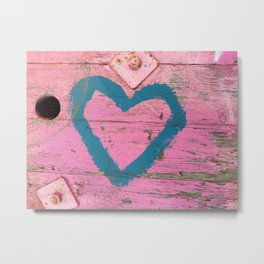 Blue heart on pink Metal Print