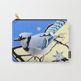 BLUE JAY DESIGN IN YELLOW-BLUE SNOWFLAKES ART Carry-All Pouch