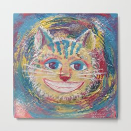 CHESHIRE, Wonderland Cat - Mixed Media Metal Print