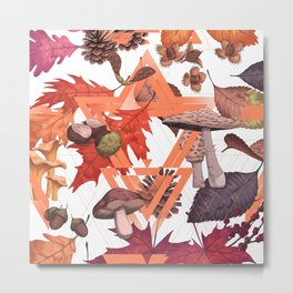 Fall Foliage II Shape Metal Print