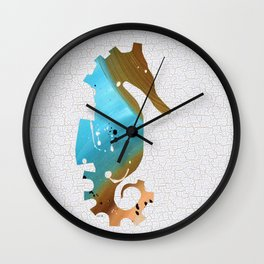Colorful Art Seahorse Illustration Blue and Brown Wall Clock