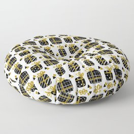 Black and Gold Giftboxes Pattern Floor Pillow