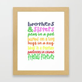 Brothers and Sisters Subway Art, Sibling Wall Art Children, Gift Framed Art Print