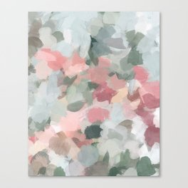 Blue Sage Green Coral Pink Tropical Flowers in the Wind Abstract Nature Ocean Painting Art Print Wall Decor  Canvas Print