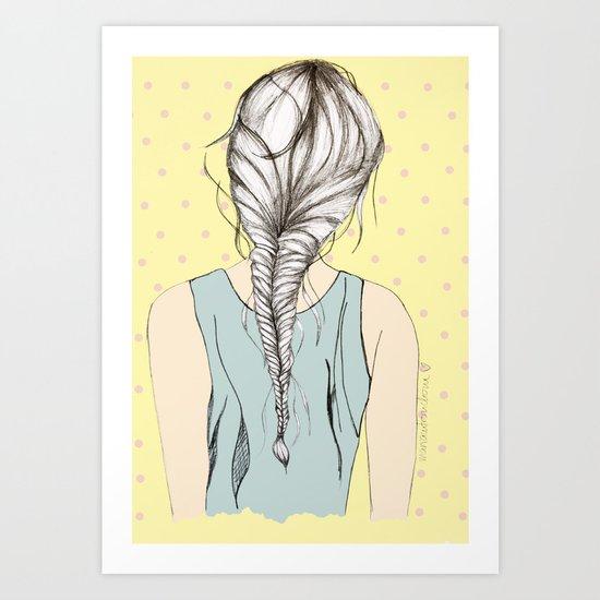 Hair braid Art Print