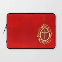 Beautiful red egg with gold cross on rich vibrant texture Laptop Sleeve