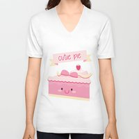 pie V-neck T-shirts featuring Cute pie by Alice Wieckowska