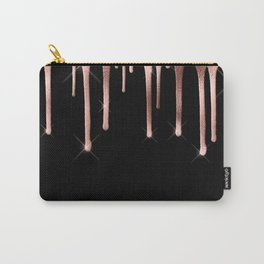 Black & Rose Gold Drip Carry-All Pouch